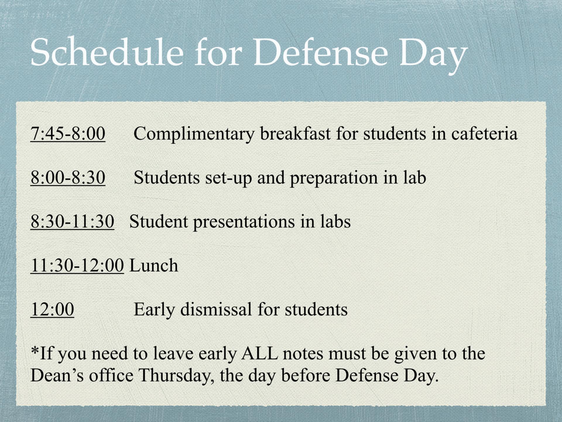 2018 Defense Day Schedule