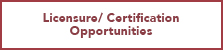 Licensure Certification Opportunities