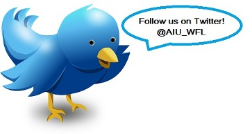 Twitter bird with Waterfront twitter @AIU_WFL