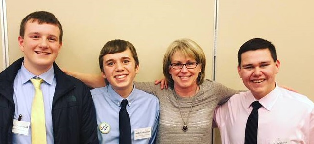 Sue Devine with MHS students at JASCO