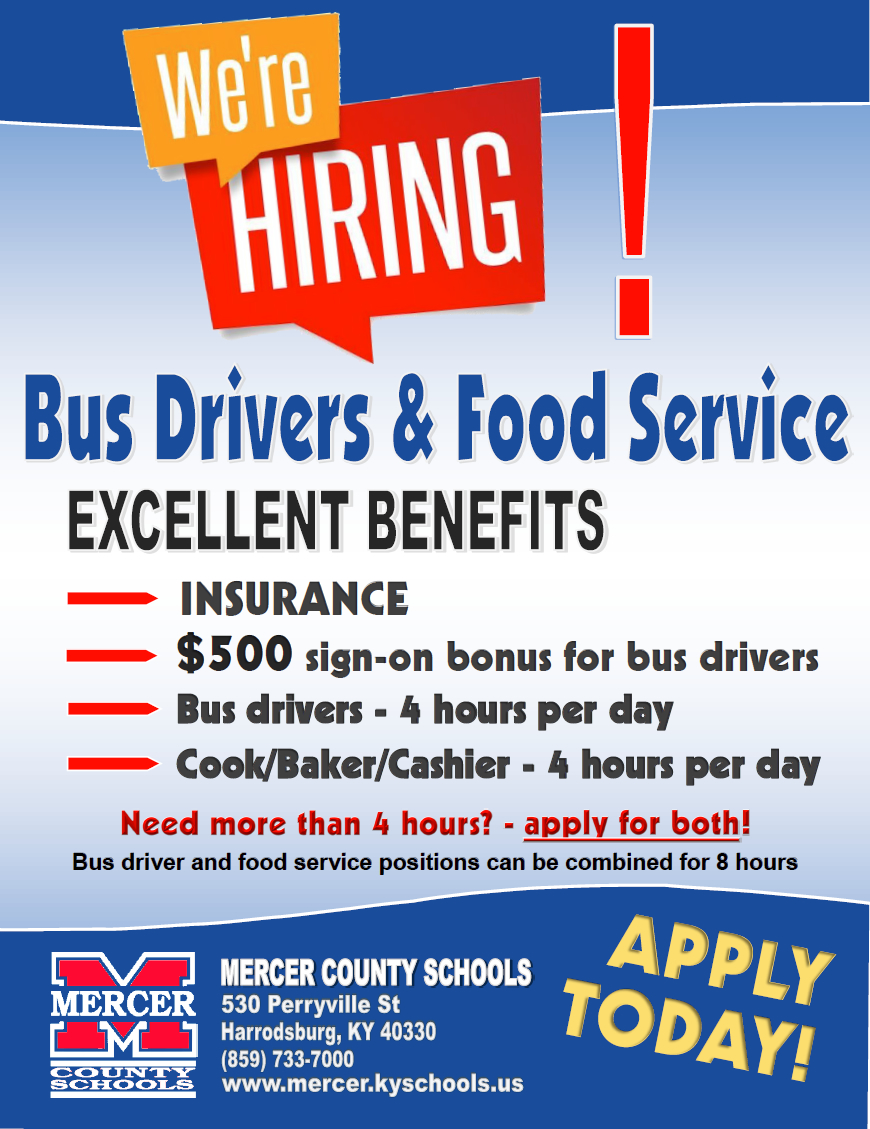We're Hiring Bus Drivers & Food Service