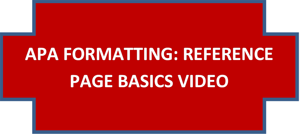 APA REFERENCE PAGE FORMATTING VIDEO