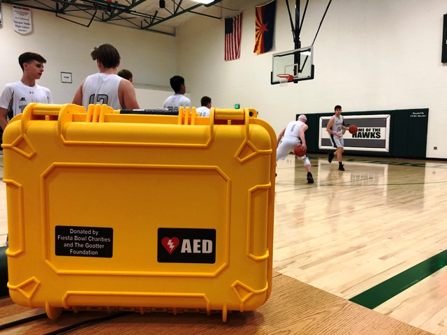 AED displayed at boys basketball practice