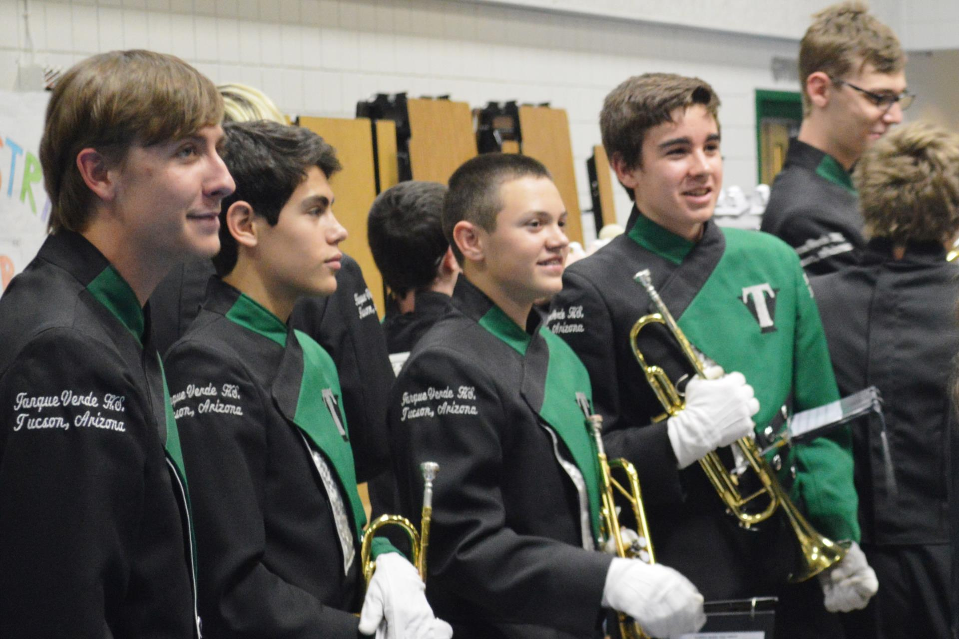 marching band students smiling