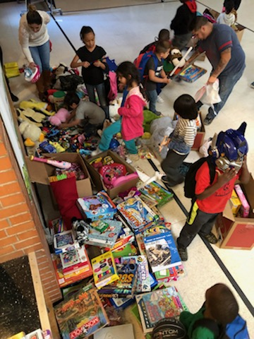 children at toy distribution