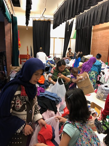 families at clothing distribution
