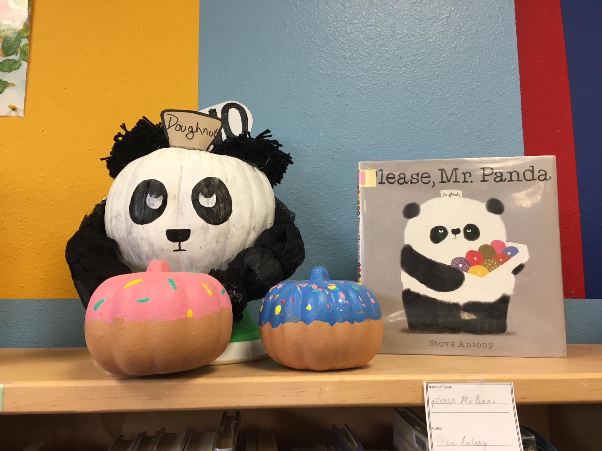pumpkin decorated like panda