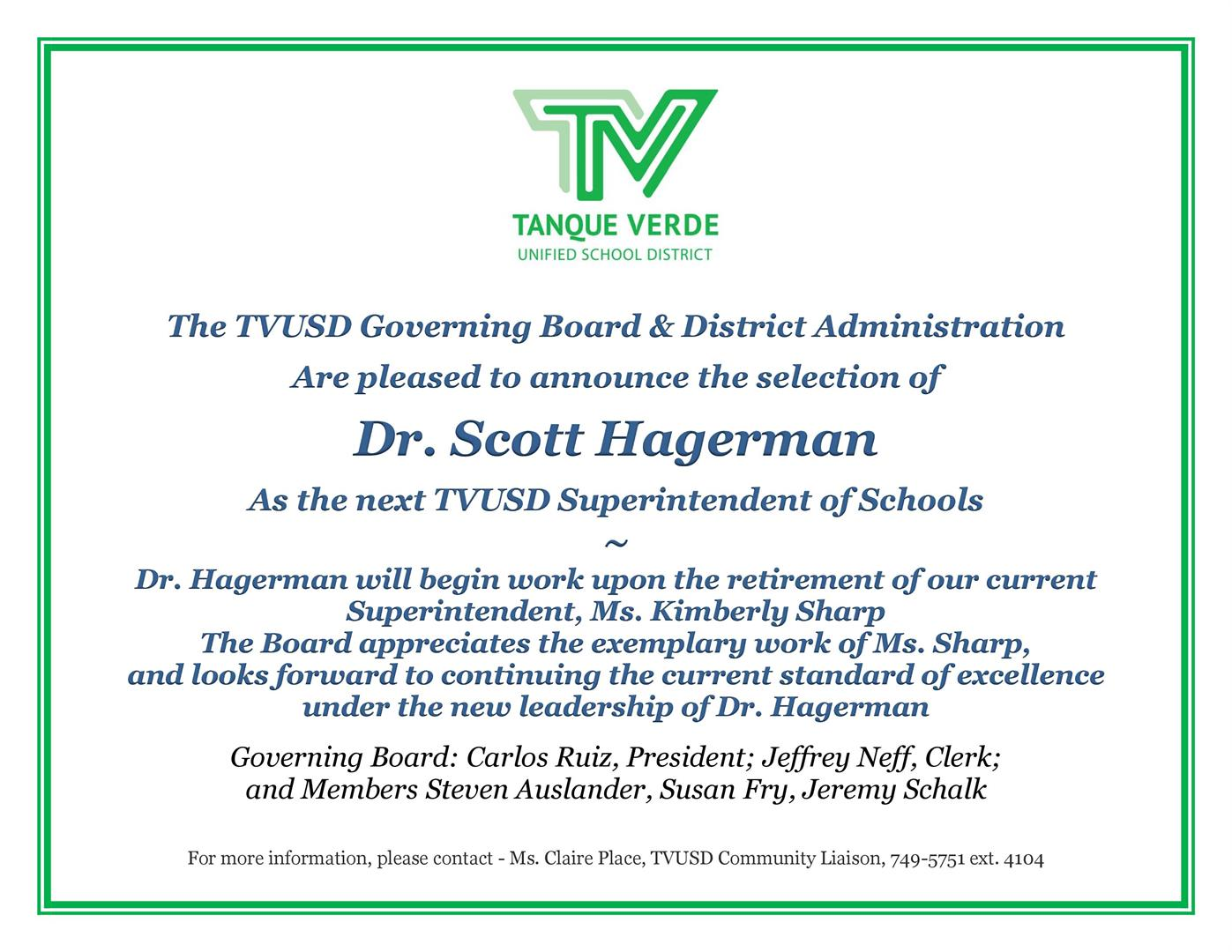 Superintendent Announcement