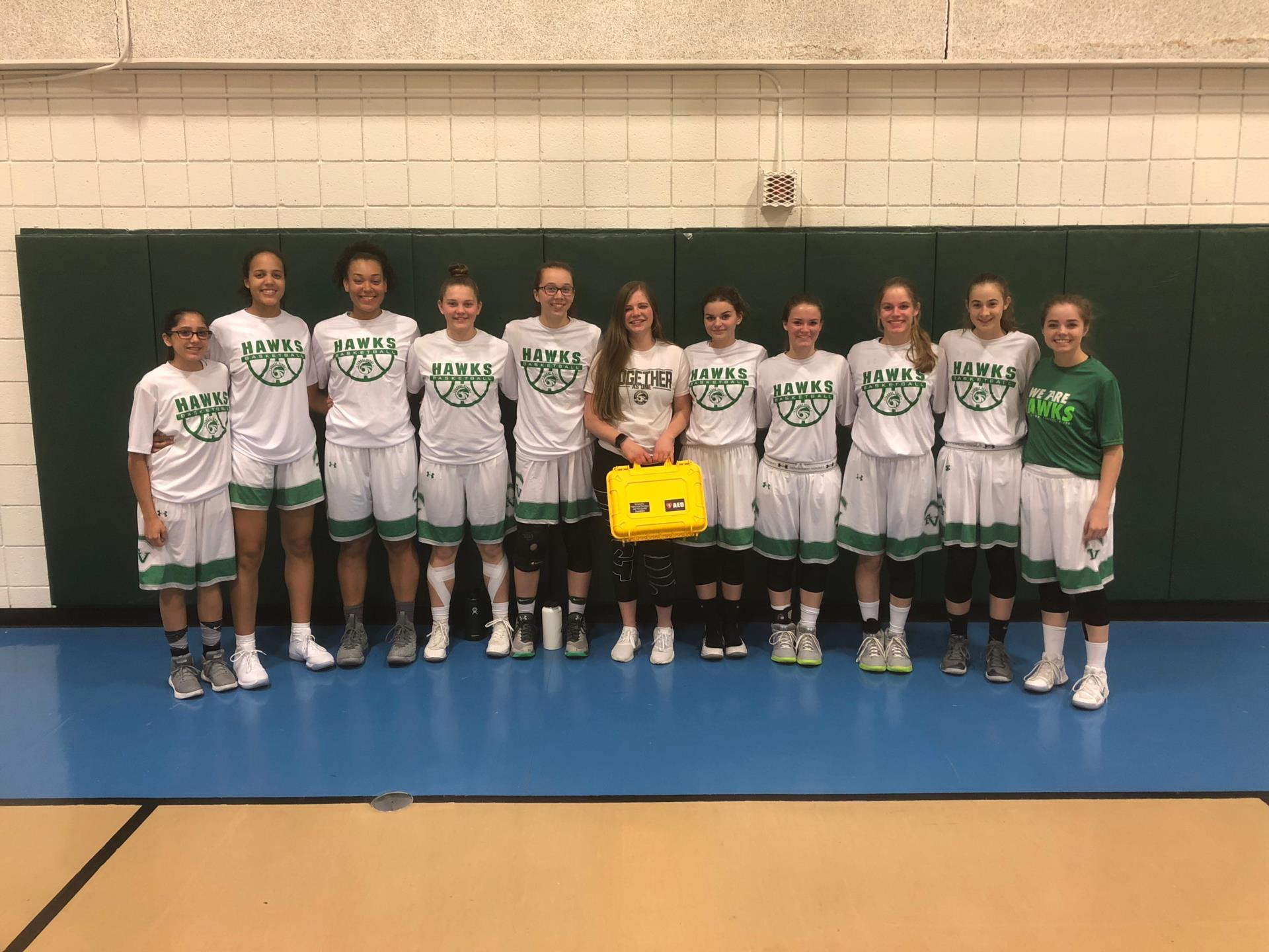 TVHS Girls Basketball with AED kit