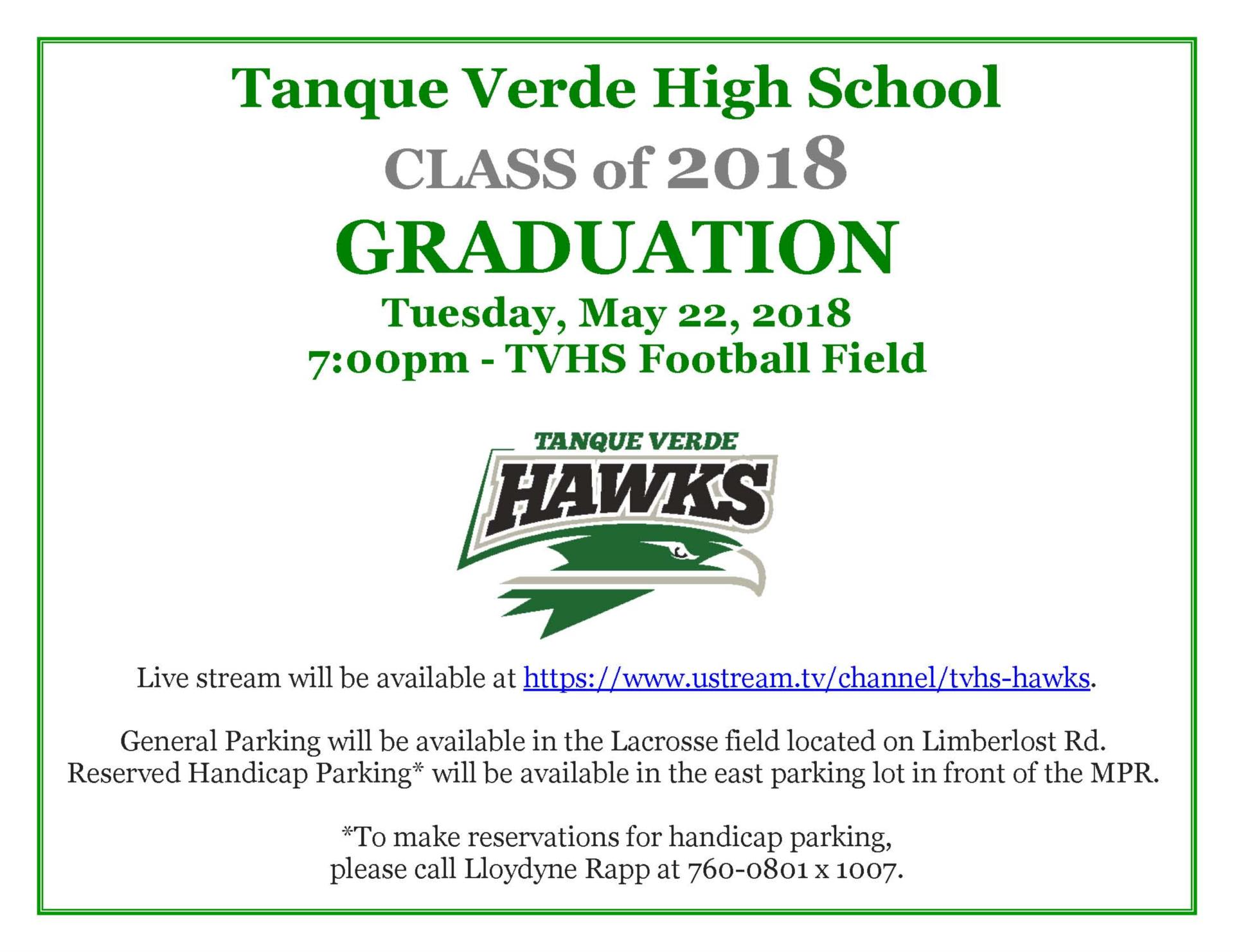 High school graduation announcement May 22nd at 7:00 p.m.